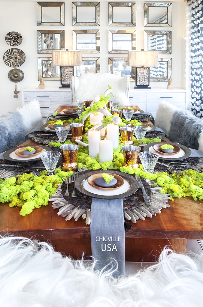 TABLESCAPE, TABLE DECOR, DINING ROOM, DRIFTWOOD CHARGER, TARGET PLATES, TARGET, WATERFORD GLASSES