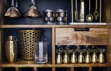 bar, home bar, west elm, gold and black bar, how to create an at home bar